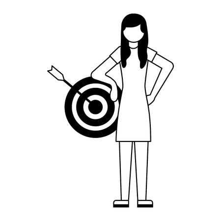 woman standing with target business vector illustration