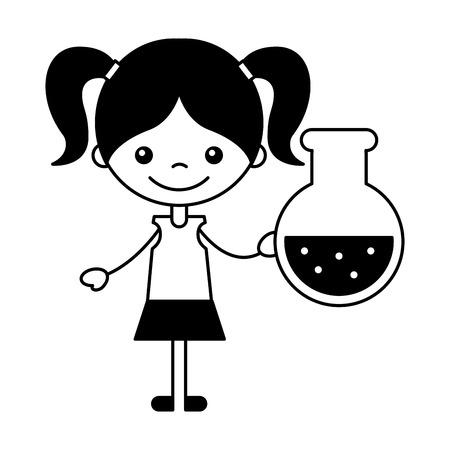girl with test tube school cartoon vector illustration