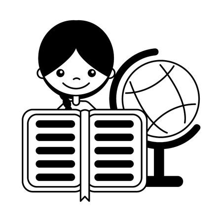 girl with book and globe school cartoon vector illustration 向量圖像