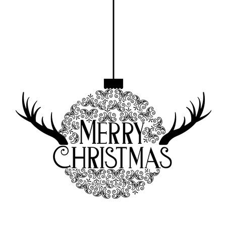 ball horns merry christmas decoration celebration vector illustration