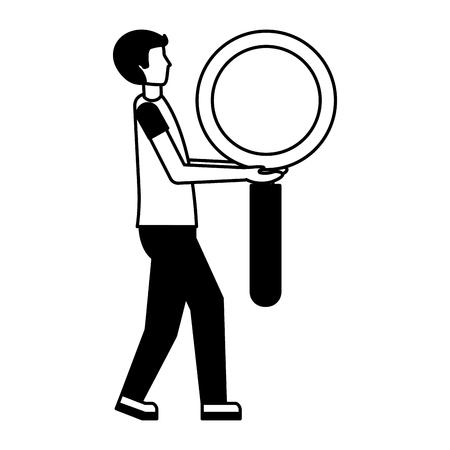 man holding big magnifying glass vector illustration Çizim