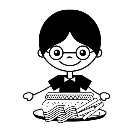 boy with bacon french fries and hot dog vector illustration