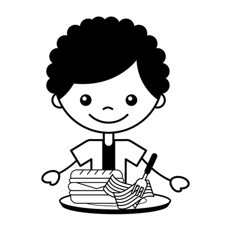 boy with dinner sandwich and bacon vector illustration
