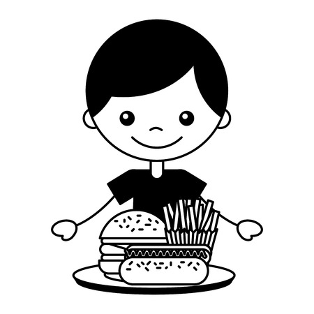 boy with burger hot dog and french fries vector illustration Stockfoto - 127564209