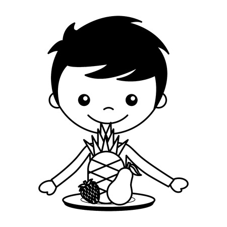 boy with pineapple pear and strawberry vector illustration Illusztráció
