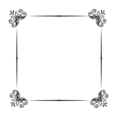 classic frame scroll on white background vector illustration  イラスト・ベクター素材