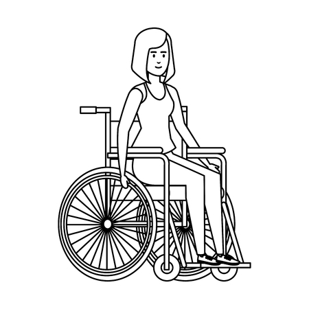 woman in wheelchair character vector illustration design 向量圖像