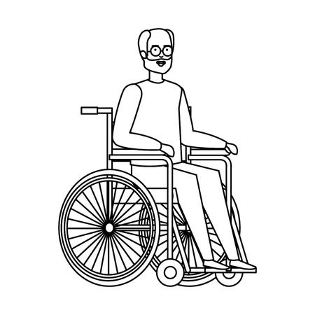 old man in wheelchair vector illustration design Ilustracja