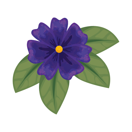 cute flower with leafs decorative vector illustration design