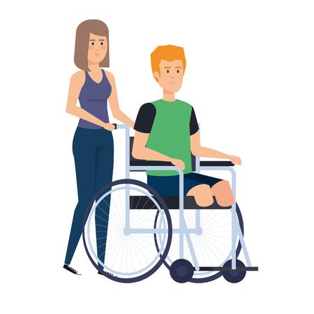 woman helping man in wheelchair vector illustration design Illusztráció