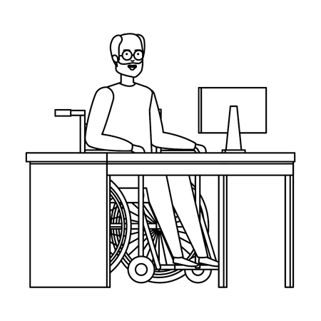 old man in wheelchair in the office vector illustration design