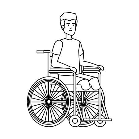 man in wheelchair character vector illustration design Çizim
