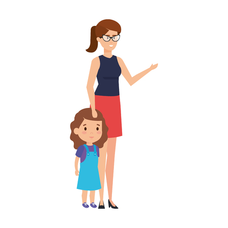 mother with daughter characters vector illustration design Standard-Bild - 127564582