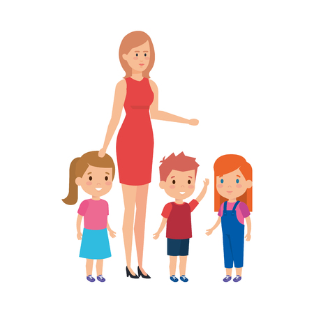 mother with sons and daughter characters vector illustration design Çizim