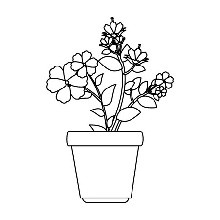 flowers houseplant in pot icon vector illustration design