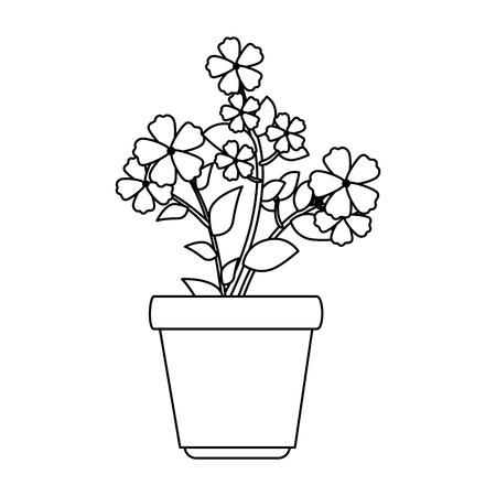 flowers houseplant in pot icon vector illustration design