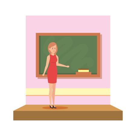 female teacher in the classroom vector illustration design 向量圖像