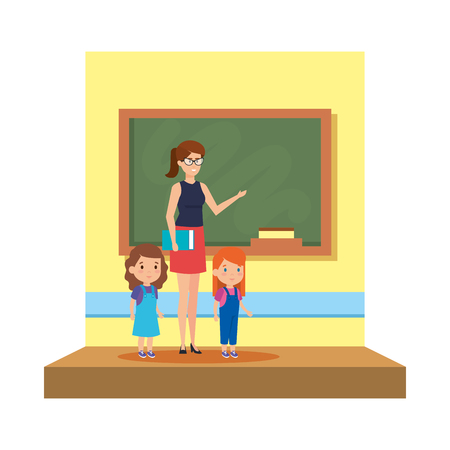 female teacher with girls in the classroom vector illustration design