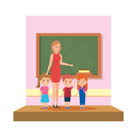 female teacher with kids in the classroom vector illustration design