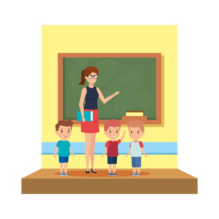 female teacher with boys in the classroom vector illustration design