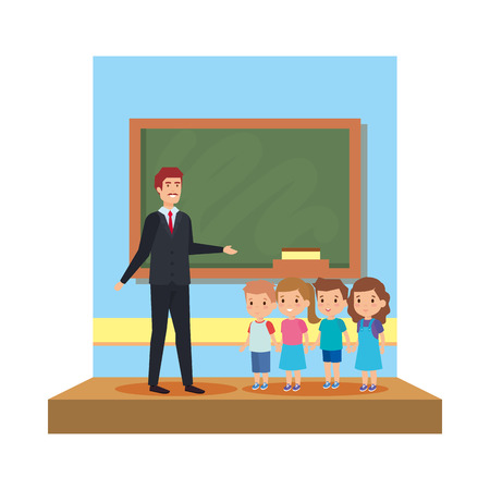 male teacher with kids in the classroom vector illustration design