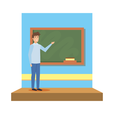 male teacher in the classroom vector illustration design