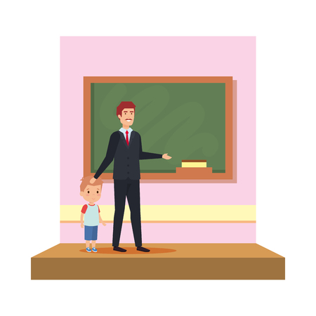male teacher with boy in the classroom vector illustration design
