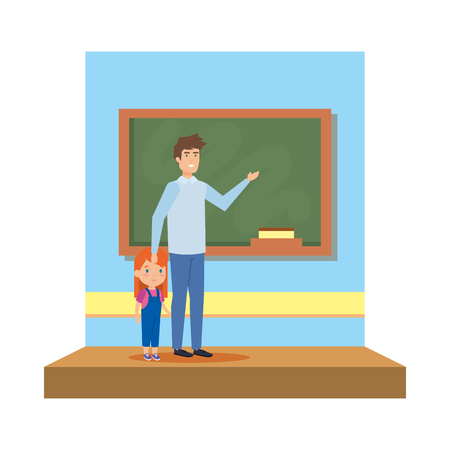male teacher with girl in the classroom vector illustration design