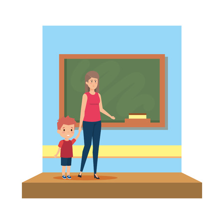 female teacher with boy in the classroom vector illustration design