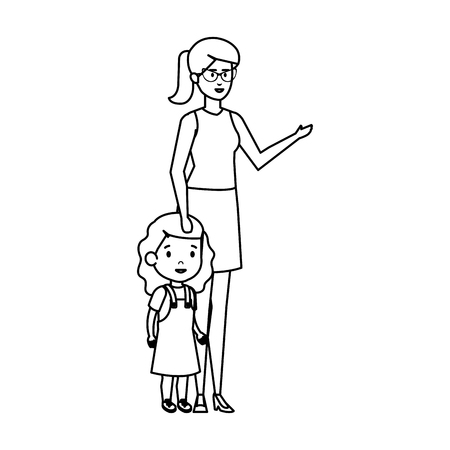 mother with daughter characters vector illustration design 스톡 콘텐츠 - 127564735