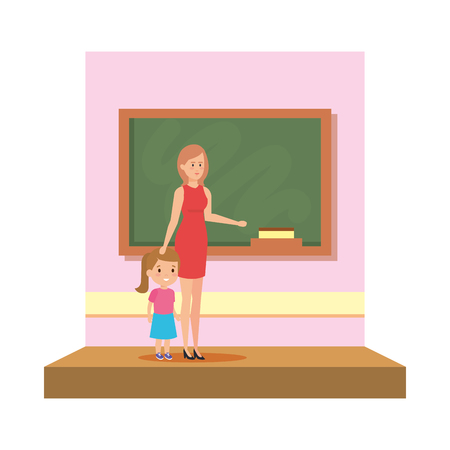 female teacher with girl in the classroom vector illustration design