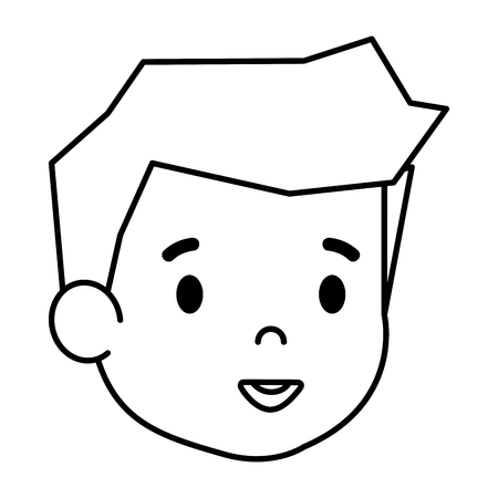 cute little boy head character vector illustration design