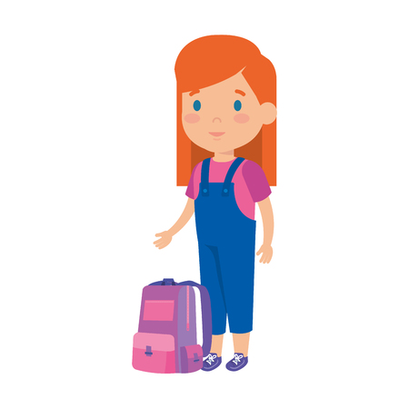 beautiful little schoolgirl with schoolbag vector illustration design Illusztráció