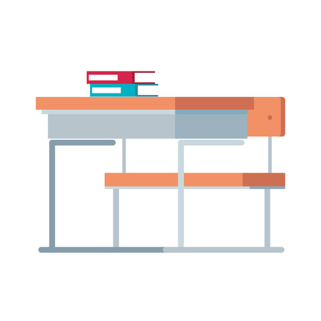 school chair with books vector illustration design