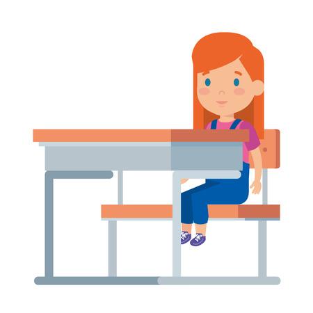 beautiful little schoolgirl in schoolchair vector illustration design