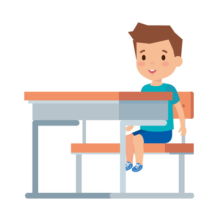 cute little boy sitting in schoolchair vector illustration design Vettoriali