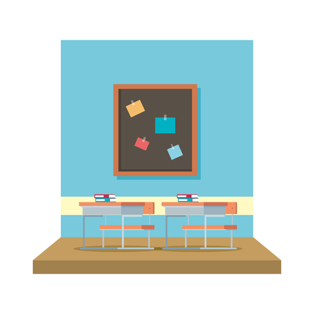 classroom with chalkboard scene vector illustration design Banque d'images - 127564839