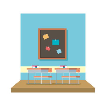 classroom with chalkboard scene vector illustration design