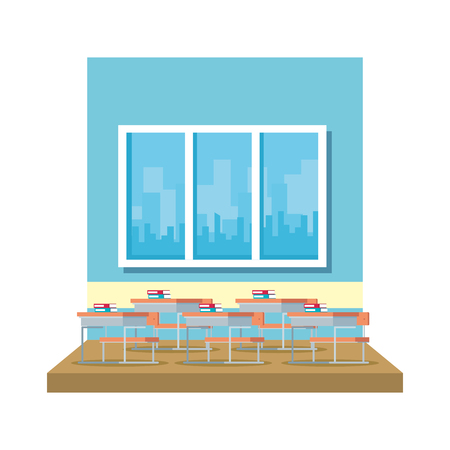 classroom with windows scene vector illustration design