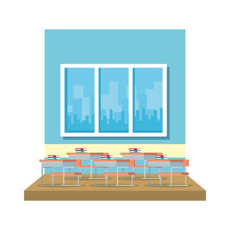 classroom with windows scene vector illustration design
