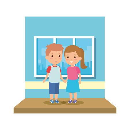 little school kids couple in the classroom vector illustration design
