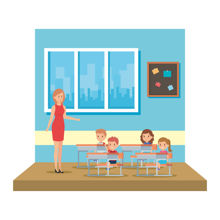 female teacher with kids in the classroom vector illustration design 写真素材 - 127564857