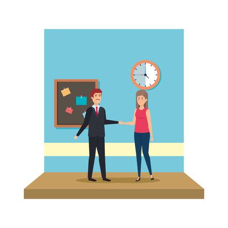 couple teachers in the classroom vector illustration design 写真素材 - 127564873