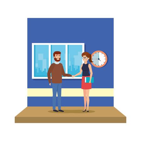 couple teachers in the classroom vector illustration design 写真素材 - 127564874