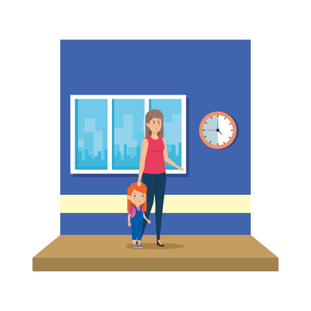 female teacher with girl in the classroom vector illustration design
