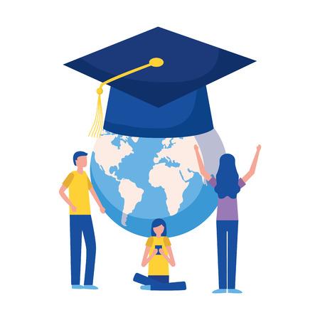 students world graduation hat education supplies school vector illustration