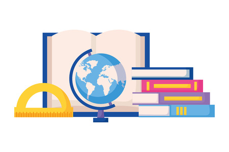 books globe and protractor education supplies school vector illustration