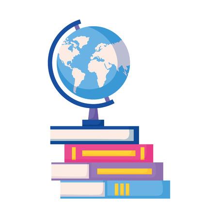globe on books education supplies school vector illustration