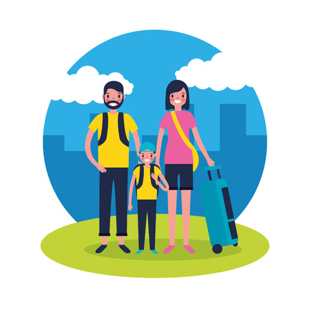 outdoor vacations family travel city vector illustration