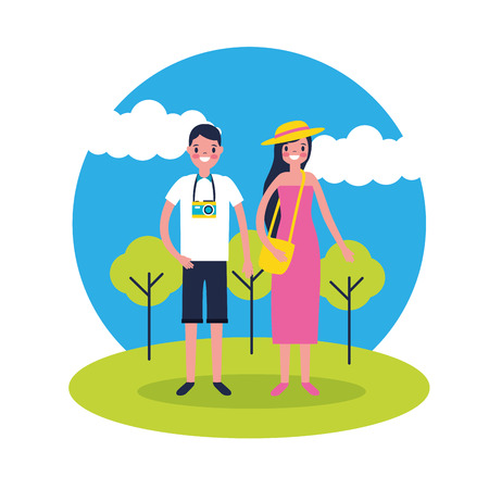 outdoor vacations couple taking photos vector illustration Standard-Bild - 127541381